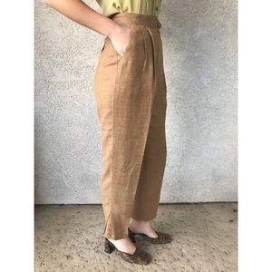 [vintage] high waist tapered camel linen trousers
